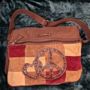 Unionbay Peace & Love Patchwork Messenger Bag